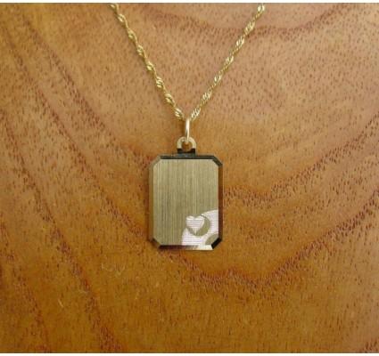 Hanger ~ LOV Gouden 14 karaats graveerplaat hanger met een hartje