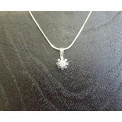 Hanger ~ BLOEM Witgouden 14 karaats hanger met Diamant