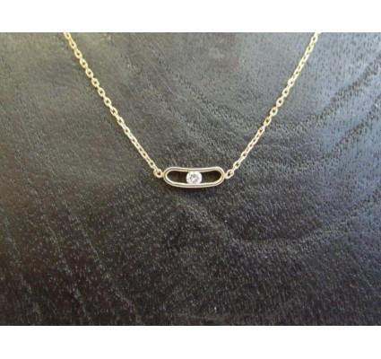 Ketting ~ Gouden 14 karaats Lorette Collier met Diamant Beschikbaar tot en met 50cm