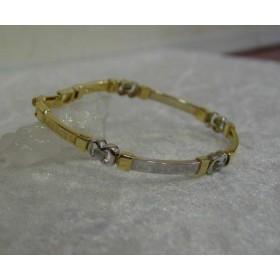 Armband ~ ALLESAN Gouden 14 karaats bicolor (wit- & geelgouden) Meander Grieks Armband