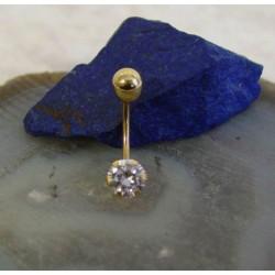Piercing ~ VIOLA Gouden 18 karaats Navel Piercing met Zirconia