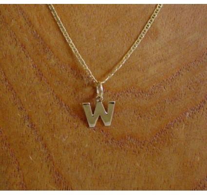 Hanger ~ Gouden 14 karaats Letter W Hanger