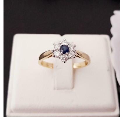 Ring ~ LINA Gouden Bloem Ring met Saffier en Diamanten