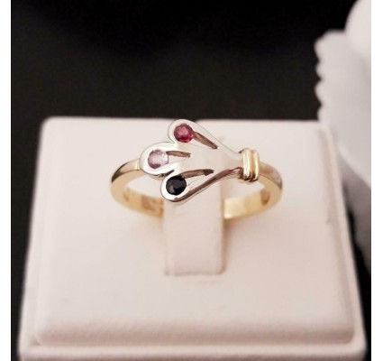 Ring ~ Gouden bicolor (wit- & geelgoud) 14 karaats design ring met Roze saffier, blauwe Saffier en Robijn