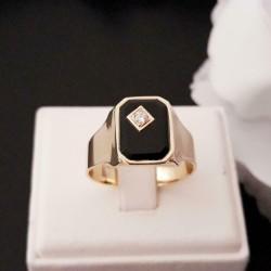 Ring ~ Gouden 14 karaats Heren Ring met Onyx & Diamant