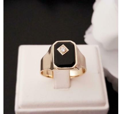 Ring ~ Gouden 14 karaats Heren Zegel Ring met Onyx & Diamant