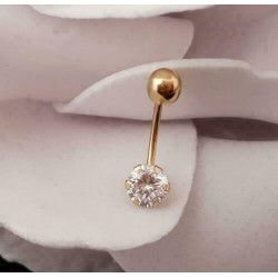 Piercing ~ ROND Gouden 18 karaats Navel Piercing met Zirconia