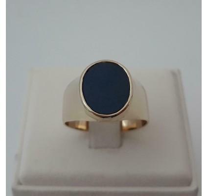 Ring ~ Gouden 14 karaats Ovale Zegel Ring met Lagensteen