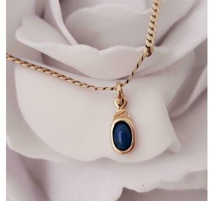 Hanger ~ ALFONSINA Gouden 14 karaats hanger met Lapis Lazuli
