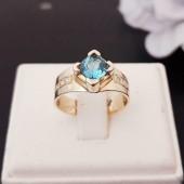 Gouden 14 krts Heren Pink Ring met Topaas en Diamanten