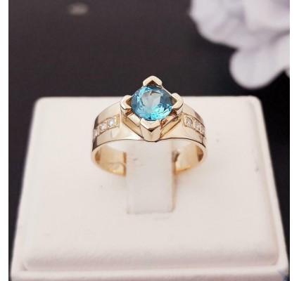 Ring ~ Gouden 14 karaats Ring met Topaas en Diamanten