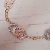Enkelband ~ Gouden 14 karaats Tijgeroog schakel enkelband beschikbaar tot en met 22cm
