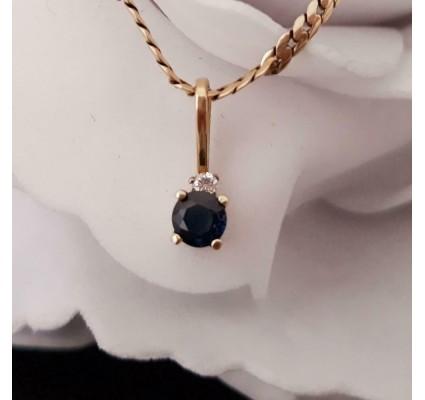 Hanger ~ Gouden 14 Karaats Hanger met Saffier en diamant