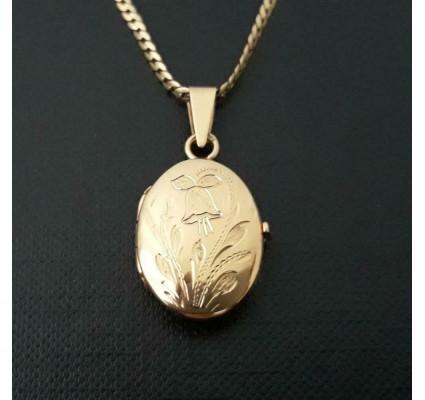 Hanger ~ Gouden 14 karaats klassieke ovale medaillon hanger voor 2 foto's