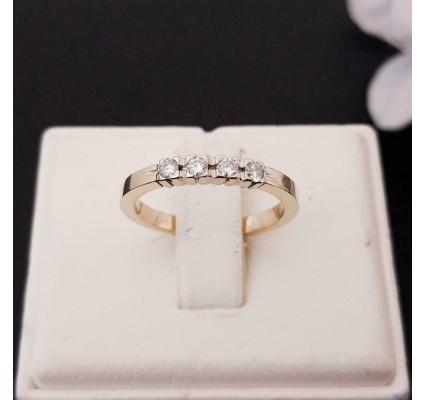Ring ~ Gouden 14 karaats Ring met 4 Diamanten