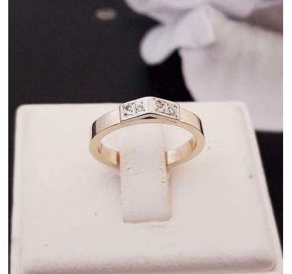 Ring ~ Gouden Bicolor (wit- & geelgouden) 14 karaats Ring met Diamant