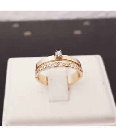 Ring ~ Gouden 18 karaats Ring Rijring Soliter met 12 Diamanten
