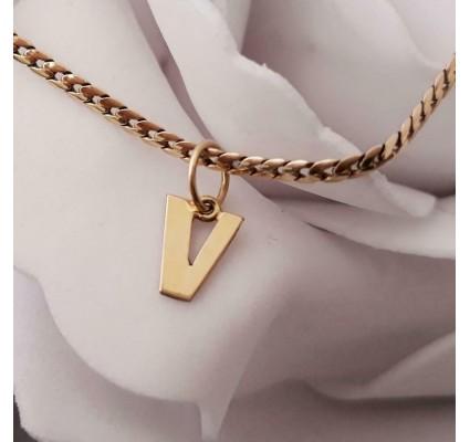 Hanger ~ Gouden 14 karaats letter V hanger