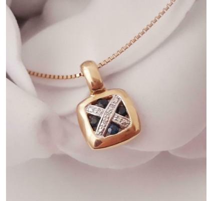 Hanger ~ Gouden 18 karaats Hanger met Saffier & Diamant