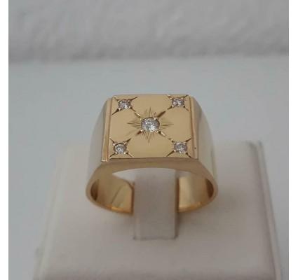 Ring ~ ETHAN Gouden 18 karaats Heren Ring met Diamanten