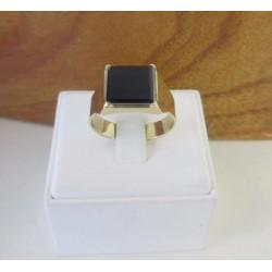 Ring ~ Gouden 14 karaats Zegel Ring met Onyx