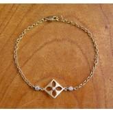 """Armband ~ BENEDETTA Gouden 14 karaats Bloem Design """"Anker"""" Armband met Zirconia beschikbaar tot en met 18.5cm"""