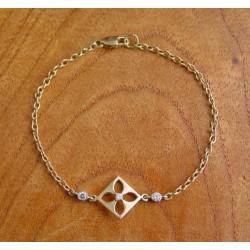 """Armband ~ AGNESE Gouden 14 karaats Bloem Design """"Anker"""" Armband met Zirconia beschikbaar tot en met 18.5cm"""