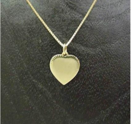 Hanger ~ ANNEBELLE Gouden 14 karaats hart Graveerplaat hanger
