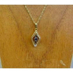 Hanger ~ Gouden 14 karaats bicolor hanger met saffier