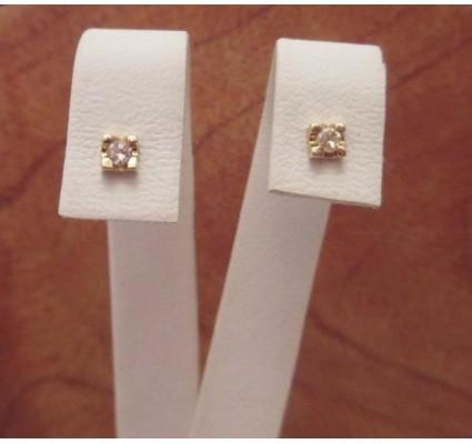 Oorbellen ~ LOUISA Gouden 14 karaats vierkante oorbellen met Diamant