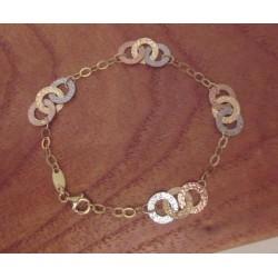 Armband ~ ANASTAGIO Gouden 14 karaats tricolor 3 kleur (Wit- Geel & Roodgoud) Anker design Armband beschikbaar tot en met 19cm