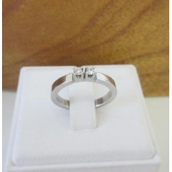 Ring ~ Witgouden 14 karaats Ring met 2 Diamanten