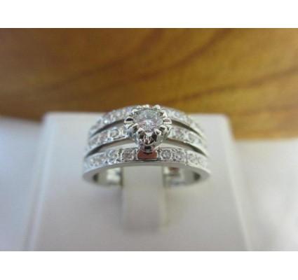 Ring ~ PRINCESA Witgouden 14 karaats 3 rijen Diamanten Ring