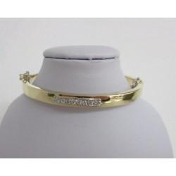 Armband ~ PLEASANCE Gouden 14 karaats Bicolor wit- & geelgoud Slavenarmband met zirconia
