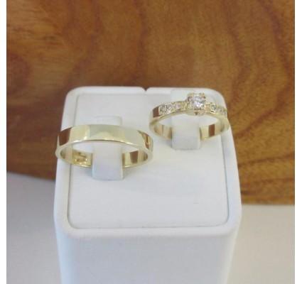 Trouwringen ~ HELAIN Gouden 14 karaats trouwringen met Diamant