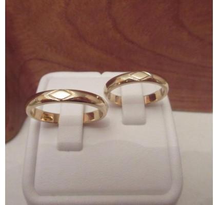Trouwringen ~ RAIMONDO Gouden 14 karaats Design Trouwringen met Ruitvorm