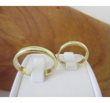 Trouwringen ~ Gouden 18 karaats Trouwringen met Diamant