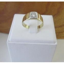 Ring ~ Gouden Wit-geelgouden Heren Ring met Diamant