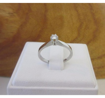 "Ring ~ Witgouden 18 karaats ""Soliter"" Ring met Diamant"