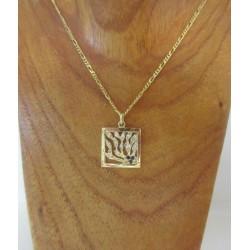 Hanger ~ Gouden Handgemaakte Hanger met Saffier en Diamant