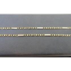 Ketting ~ Gouden Bicolor wit- & Geelgoud schakel Ketting beschikbaar tot en met 45cm