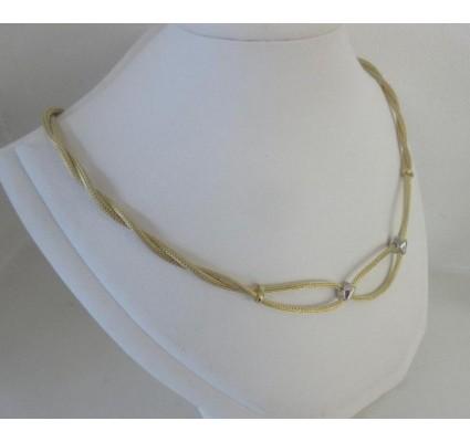 Ketting ~ Gouden 14 karaats gedraaide Bicolor (wit- & Geelgouden) Collier Beschikbaar tot en met 42cm
