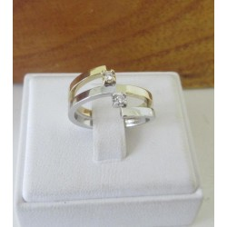 Ring ~ Bicolor (Wit- & Geelgouden) 14 karaats Ring met Diamant (0.06 Crt VS)