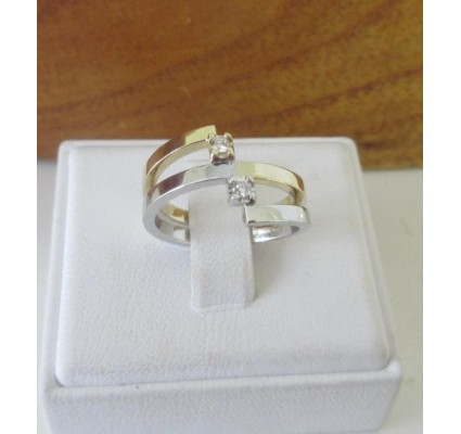 Ring ~ VERA Bicolor (Wit- & Geelgouden) 14 karaats Ring met Diamant