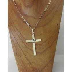 Hanger ~ Gouden 14 karaats kruis met saffier