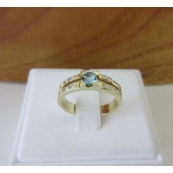 Ring ~ Gouden 14 karaats Ring met Aquamarijn en Diamant