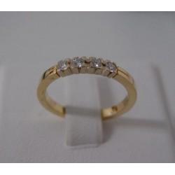 Ring ~ Gouden 14 karaats Rij ring met 4 Diamanten