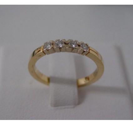Ring ~ Gouden 14 karaats Rijring met 4 Diamanten
