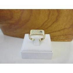 Ring ~ Gouden 14 karaats 3 kleurige (wit-, geel- en roodgouden) Heren Ring met diamant