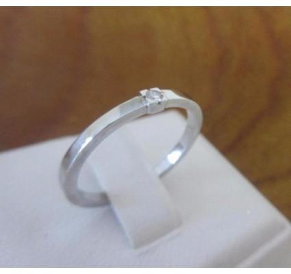 Ring ~ Witgouden 14 karaats Solitair Ring met 1 Diamant